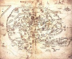 Map of Rome 1474 in the Biblioteca Medicea Laurenziana, Firenze.