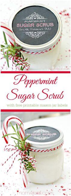 DIY Mason Jar Peppermint Sugar Scrub Gift - 160+ DIY Mason Jar Crafts and Gift Ideas - DIY & Crafts