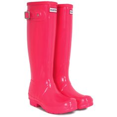 Hunter Festival Fluoro Tall Neon Pink Hunter Wellies