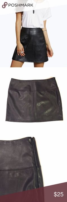 """Black Mini Skirt • 100% polyurethane (not real leather) • Waist 16"""" • Length 14"""" • Side zipper • Cover shot does not reflect the actual item • Measurements Available Upon Request🔸10% Off Bundles🔸No Trades🔸No PayPal Express Skirts Mini"""