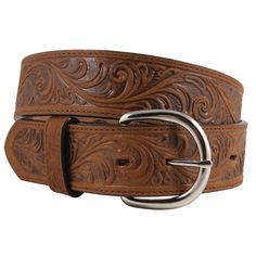 "Soft, supple and stylish belt that compliments any outfitGenuine cowhide features a classic floral tooling patternSimple polished silver buckle can be replaced ½"" wideSizes: offered in select sizes: Bark Scroll Pattern, Western Belts, Westerns, Stylish, Classic, Silver, Accessories, Classical Music"