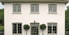 Ideas house front ideas exterior colors window boxes for 2019 Stucco Colors, Exterior Paint Colors For House, Paint Colors For Home, Exterior Colors, Paint Colours, House With Grey Windows, Green Windows, Timber Windows, Coloured Upvc Windows