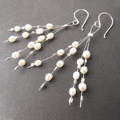 Learn to make these easy cute beaded earrings using pearls, crystals, or the beads of your choice! #seaglassearringsideas #jewelrymakingbeads