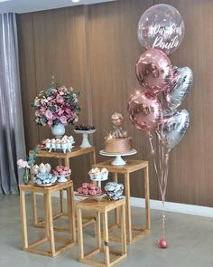 Simple Birthday Decorations, Girl Baby Shower Decorations, Balloon Decorations, Wedding Decorations, Diy Birthday, Birthday Parties, Happy Birthday, Havanna Party, Deco Floral