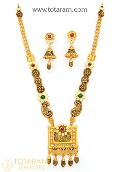 22K Gold Antique Long Necklace & Drop Earrings Set with Fancy Stones - 235-GS3101 in 86.500 Grams