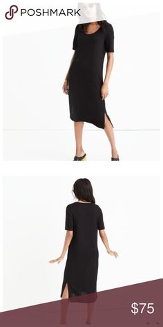 """MadeWell short-sleeve tee dress A long T-shirt dress with a flattering scoopneck and easy side slits. Comfy, stretchy and so un-clingy, this short-sleeve style pairs easily with both sneakers and boots.  Color:True Black Nonwaisted. Falls 40 1/4"""" from highest point of bodice. Rayon/poly/cotton. Hand wash. Import. Madewell Dresses"""