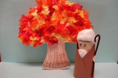 Moses and Burning Bush Craft Picture ... could do a tissue paper Australian Christmas bush project?