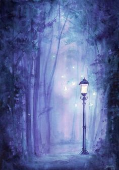 Forest lamp post. Watercolor on 180 gsm paper #watercolor#aquarelle#lamppost#Lantern#Butterflies