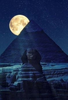 The Great Pyramid of Giza and the Sphinx by night