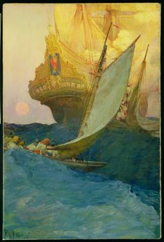 """""""An Attack on a Galleon,"""" by Howard Pyle, Delaware Art Museum"""