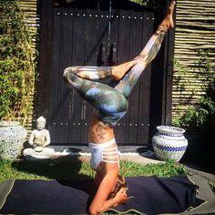 Headstand / Sirsasana in Spiritgirl Island Style eco friendly yoga pants. Anchor tattoo