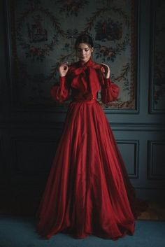 Red silk ballgown style alternative wedding dress separates by Joanne Fleming Design, dark and moody editorial image by David Wickham dresses red gowns Blush Tulle Wedding Dress and Red Silk Alternative Bridal Gown Wedding Dress Separates, Red Wedding Dresses, Tulle Wedding, Prom Dresses, Dresses Elegant, Most Beautiful Dresses, Pretty Dresses, Red Gowns, Red Ball Gowns