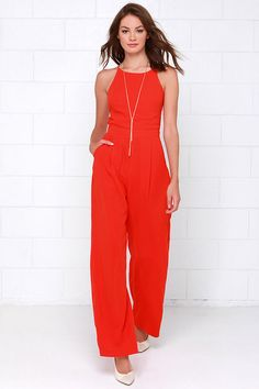 Shoot for the Sky Coral Red Jumpsuit at Lulus.com!