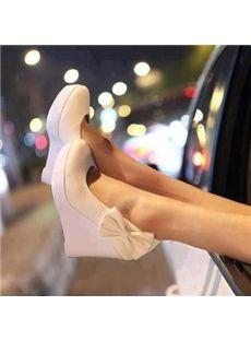 Shoespie Side Bowtie Platform Wedge Heels