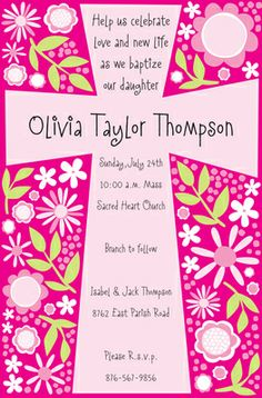 Girl Cross Invitations