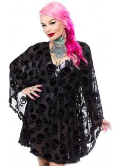 The Lust for Skulls Cover Up by Sourpuss features an all-over flocked black skull print, scalloped trim and a Stevie-meets-Elvira silhouette! This cute mesh cover up is perfect over a swimsuit, but we also love it over a little slip dress or as a top!  #Dress #Gothic #Skulls #Summer #AltStyle