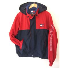 90s TOMMY HILFIGER Anorak w HOOD Sailing Jacket ($28) ❤ liked on Polyvore featuring outerwear, jackets, anorak jackets, hooded anorak, hooded jacket, hooded anorak jacket and embroidered jackets