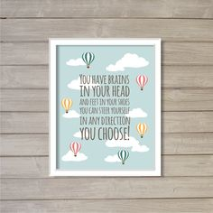 Dr. Seuss Quote - 8x10- Instant Download Digital Printable Hot Air Balloon Clouds Sky Blue School Library Baby Room Nursery Decor Wall Art