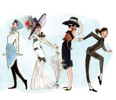 Sketches of Audrey Hepburn from Funny Face, My Fair Lady, and Breakfast at Tiffany's