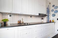 kitchen with a hint of blue