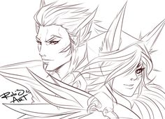 Xayah and Rakan League of Legends Xayah Lol, Rakan League Of Legends, Wings Sketch, Naruto Drawings, Anime Wolf, Anime Naruto, Drawing Reference, Manga Art, Art Blog