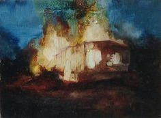 Elisha Enfield, NWSH, Oil on Board 15cm x 20cm Caravan Painting http://www.elishaenfield.co.uk/