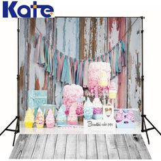 Kate Photography Backdrops Cake Colorful Cute Birthday Bhotography Wood Floor Background Photographic Studio Background for kid