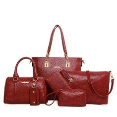 39.80$  Buy here - http://aieh3.worlditems.win/all/product.php?id=32702699358 - 6 pcs/ set Flower Pattern Women Bag Fashion Handbag Tote Messenger Bags Purse Wallet Clutch Bolsas free shipping