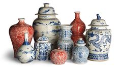 Chinoiserie Ceramic Collection from Frontgate Casual Home Decor, Luxury Home Decor, Blue And White China, Red And Blue, China Vase, Wabi Sabi, Mediterranean Decor, Chinoiserie Chic, Asian Decor