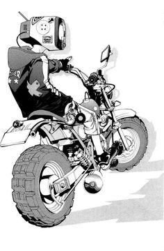 TV Head anime character on a motorbike (FLCL anyone? Character Drawing, Character Concept, Concept Art, Comic Character, Cyberpunk, Illustrations, Illustration Art, Creative Illustration, Manga Art
