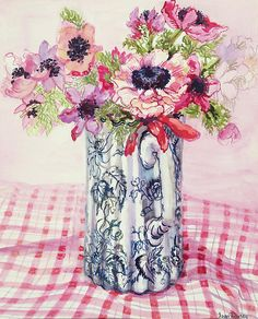 """Anemones in a Victorian Flowered Jug"" by Joan Thewsey"