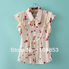 Aliexpress.com : Buy 2014 New Fashion Autumn Summer Sweet Fruit Cherry Flowers Print Bow Ruffles Chiffon Blouse Tops Shirts Women Clothing CMS 0247 from Reliable Chiffon Blouse suppliers on Pearl Store $16.96 - 17.69