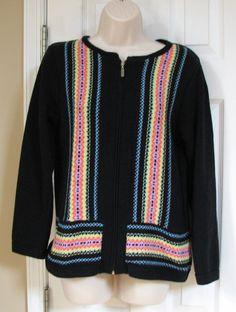 Coldwater Creek Zip Cardigan Black Multi Color Stripe Long Sleeve S Cotton Blend #ColdwaterCreek #FullZip