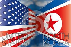 North Korea VS USA,  vector illustration with flags and names