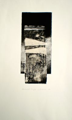 ELAINE d'ESTERRE - Etching titled Downward Drift, 2014, intaglio and chine colle 29x12 cm by Elaine d'Esterre at http://elainedesterreart.com and http://www.facebook.com/elainedesterreart/ and http://instagram.com/desterreart/ From seried titled And then the Ocean Rusted 2013-2014.