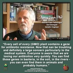 Awesome interview with Dr. Thierry Vrain, scientist, retired plant pathologist, soil biologist and genetic engineer. There is much wisdom in this interview and much to be learned. This is a must listen! We have a technology with over 500 million acres - with every cell of every plant containing antibiotic resistant markers. Absolutely frightening.  Listen here: http://foodintegritynow.org/2014/05/08/dr-thierry-vrain-former-gmo-scientist-speaks/