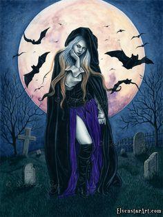 Harvest Moon ACEO print Gothic Halloween Witch by ElvenstarArt Gothic Fantasy Art, Fantasy Kunst, Dark Fantasy, Fantasy Images, Traditional Paintings, Traditional Art, Gothic Halloween, Halloween Prints, Halloween Art