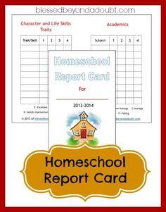 Printable Homeschool Report Cards - Frugal Homeschool Family