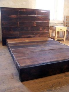 buy a hand made asian style low platform bed from reclaimed wood made to order - Strong Bed Frame