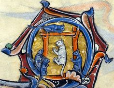 mice hanging a cat  'The Rutland Psalter', England ca. 1260 (British Library, Add 62925, fol. 61v)