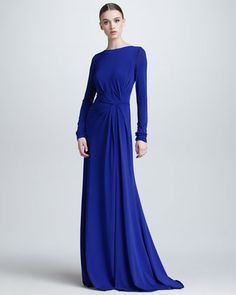 Long-Sleeve Gathered Jersey Gown, Blue by Elie Saab at Bergdorf Goodman.