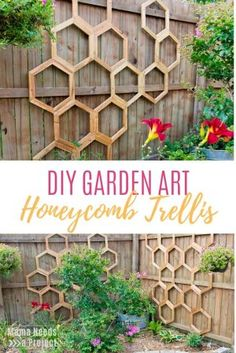 Honeycomb Trellis Pins This DIY Honeycomb Garden Trellis will make your garden the envy of the neighborhood. Easy woodworking tutorial with step-by-step instructions and photos Patio Pergola, Backyard Landscaping, Landscaping Ideas, Backyard Patio, Backyard Ideas, Landscaping Borders, Pergola Design, Backyard For Kids, Patio Ideas