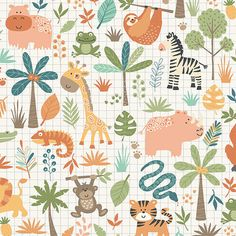 Makower JUNGLE FRIENDS Zoo Animals Baby 100/% Cotton Patchwork Dress Craft Fabric
