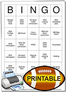 Superbowl Football Bingo Cards