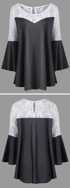 top outfits:Flare Sleeve Lace Panel Blouse