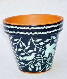 "Hand Painted Flower Pot 4 Inch Terracotta ""Sanctuary"" Made to Order"