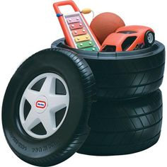 Classic Racing Tire Toy Chest, A little pricey at $60, but could also put a glass top on and use as a table... Big Boy Bedrooms, Baby Boy Rooms, Kids Bedroom, Car Bedroom Ideas For Boys, Box Bedroom, Childrens Bedroom, Race Car Room, Boy Car Room, Car Themed Rooms