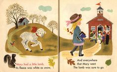 https://flic.kr/p/3ZxvX | Mother Goose: Mary | Baby's Mother Goose: Pat-a-cake (c)1948, illustrated by Aurelius Battaglia.  I love the two-page spread here. Great compostion.