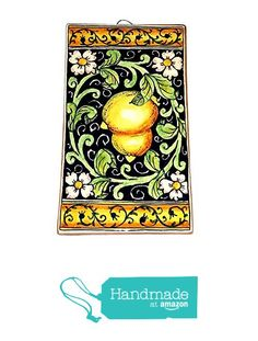 CERAMICHE D'ARTE PARRINI - Italian Ceramic Art Tile Pantiles Pottery Paint Lemons Blu Hand Painted Made in ITALY Tuscan from CERAMICHE D'ARTE PARRINI since 1979 http://www.amazon.com/dp/B0195G24HQ/ref=hnd_sw_r_pi_dp_Rx-jxb0T2ARZQ #handmadeatamazon