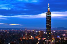 A beautiful shot of Taipei 101. It was once the tallest building in the world.